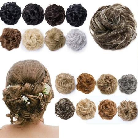 S-noilite Women Hair Pieces Messy Hair Scrunchie Fake Hair Bun Extensions Wigs Hair Chignons dark black,40g