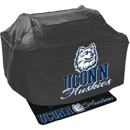 Mr. Bar-B-Q NCAA Grill Cover and Grill Mat Set, University of Connecticut Huskies