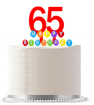 Item#065WCD - Happy 65th Birthday Party Red Cake Topper & Rainbow Candle Stand Elegant Cake Decoration Topper Kit