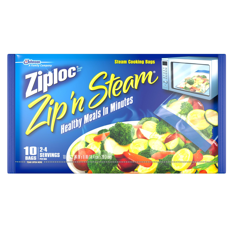 Ziploc Pinch and Seal Zip'n Steam Microwave Cooking Bags, Medium, 10 Ct