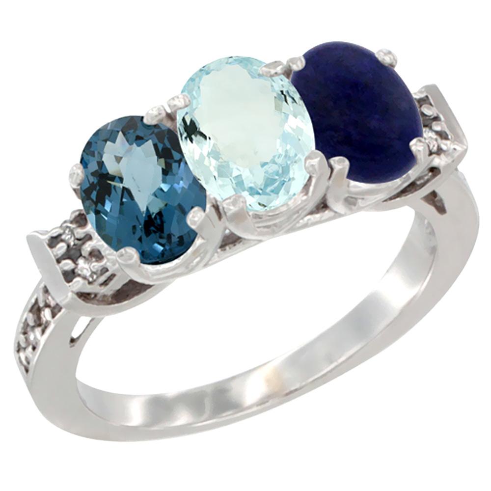 14K White Gold Natural London Blue Topaz, Aquamarine & Lapis Ring 3-Stone 7x5 mm Oval Diamond Accent, sizes 5 - 10