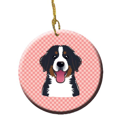Checkerboard Pink Bernese Mountain Dog Ceramic Ornament, 2.81 In. - image 1 of 1