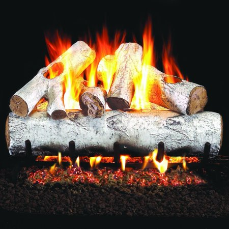 - Peterson Real Fyre 24-inch White Birch Gas Log Set With Vented Natural Gas Ansi Certified G46 Burner - Manual Safety Pilot