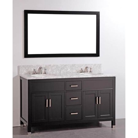Solid wood double sink vanity with mirror for Solid wood double sink bathroom vanity