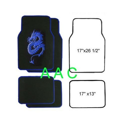 A Set of 4 Universal Fit Plush Carpet Floor Mats for Cars   Truck Dragon Blue by LavoHome