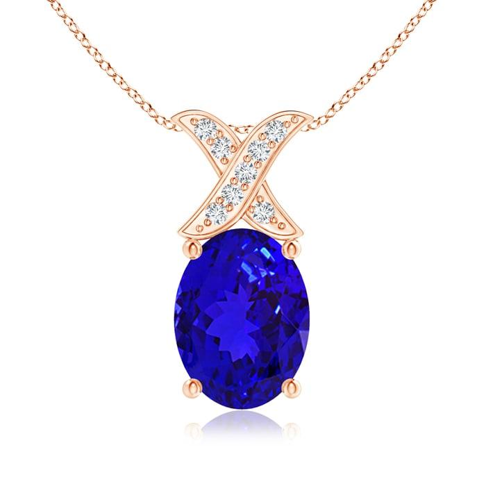 Angara Oval Tanzanite and Diamond Necklace in 14k Rose Gold 2kLQDxkgGL