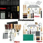18/42/59/69pcs Professional Leather Craft Tools Kit for Hand Sewing Sewing Stitching Working Wheels Stamping Punch Tools Set