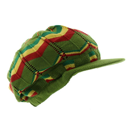 JFH Rasta Dreadlocks Visor Hat Multiple Designs and Colors - Olive Gyr](Dreadlock Hat)