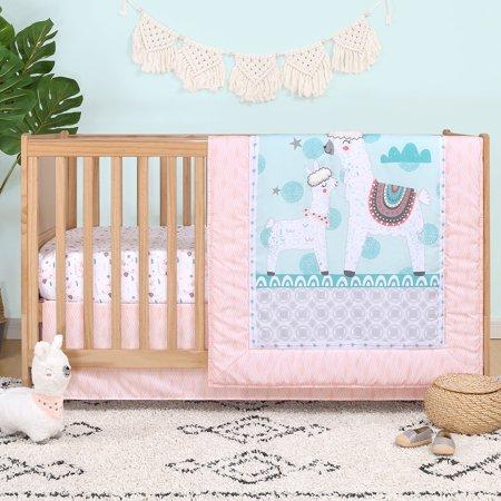 Llama Love 4 Piece Animal Theme Baby Girl Crib Bedding Set ()
