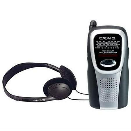 craig am fm pocket radio with speaker and headphones wireless headphone 2 x aa portable. Black Bedroom Furniture Sets. Home Design Ideas