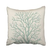 WinHome Square Throw Pillow Covers Vintage Coral Tree In Seafoam Green Artistic Pillowcases Polyester 18 X 18 Inch With Hidden Zipper Home Sofa Cushion Decorative Pillowcase
