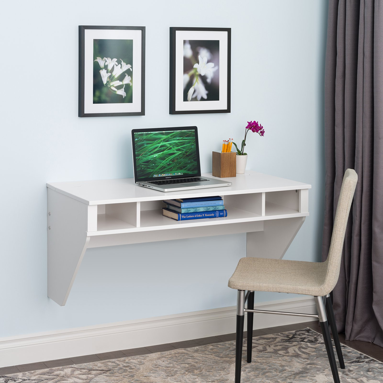 Prepac Designer Floating Desk with Optional Hutch - White
