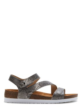 Calistoga Women's Ankle Strap Faux Leather Wedge Sandals