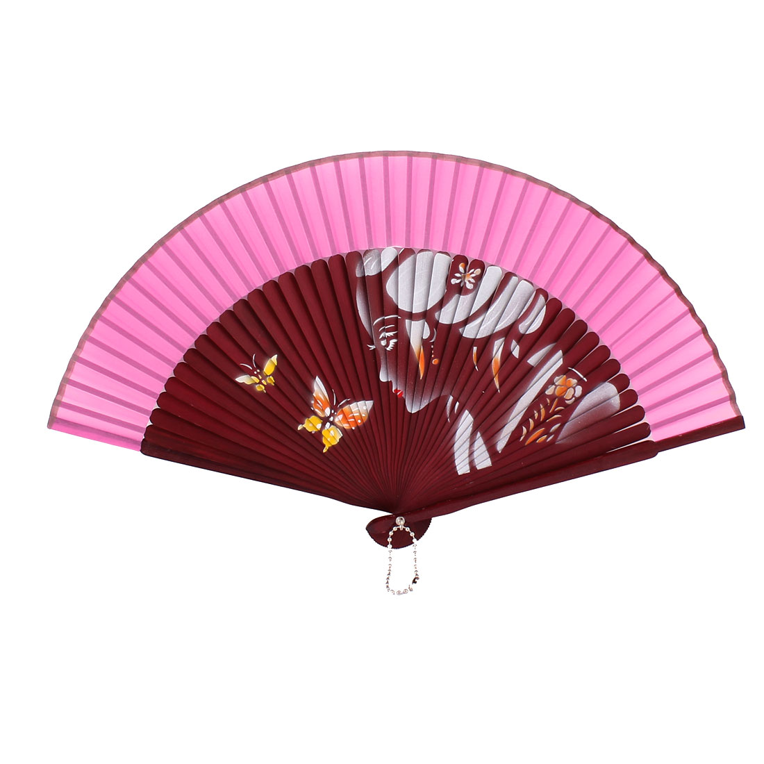 Lady Print Fabric Wood Frame Printing Folding Hand Fan Pink Dark Red