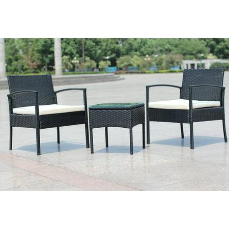 3 Piece Cushioned Compact Outdoor/Indoor Patio Garden Lawn Furniture Pe  Rattan Wicker Sofa Set - 3 Piece Cushioned Compact Outdoor/Indoor Patio Garden Lawn Furniture
