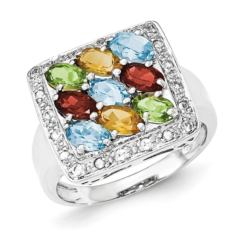 925 Sterling Silver Rhodium-plated Polished Multicolored CZ Fancy Ring Size 7