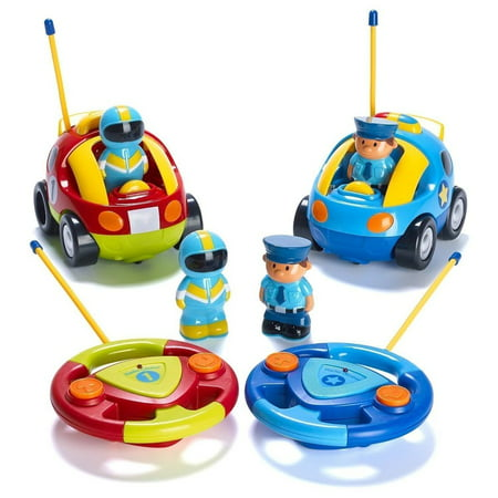 Christmas Crafts For Preschoolers (Cartoon RC Race Car Police Car Remote Control with Light Music Radio for Kids Toddlers Preschooler Baby Christmas Gift)
