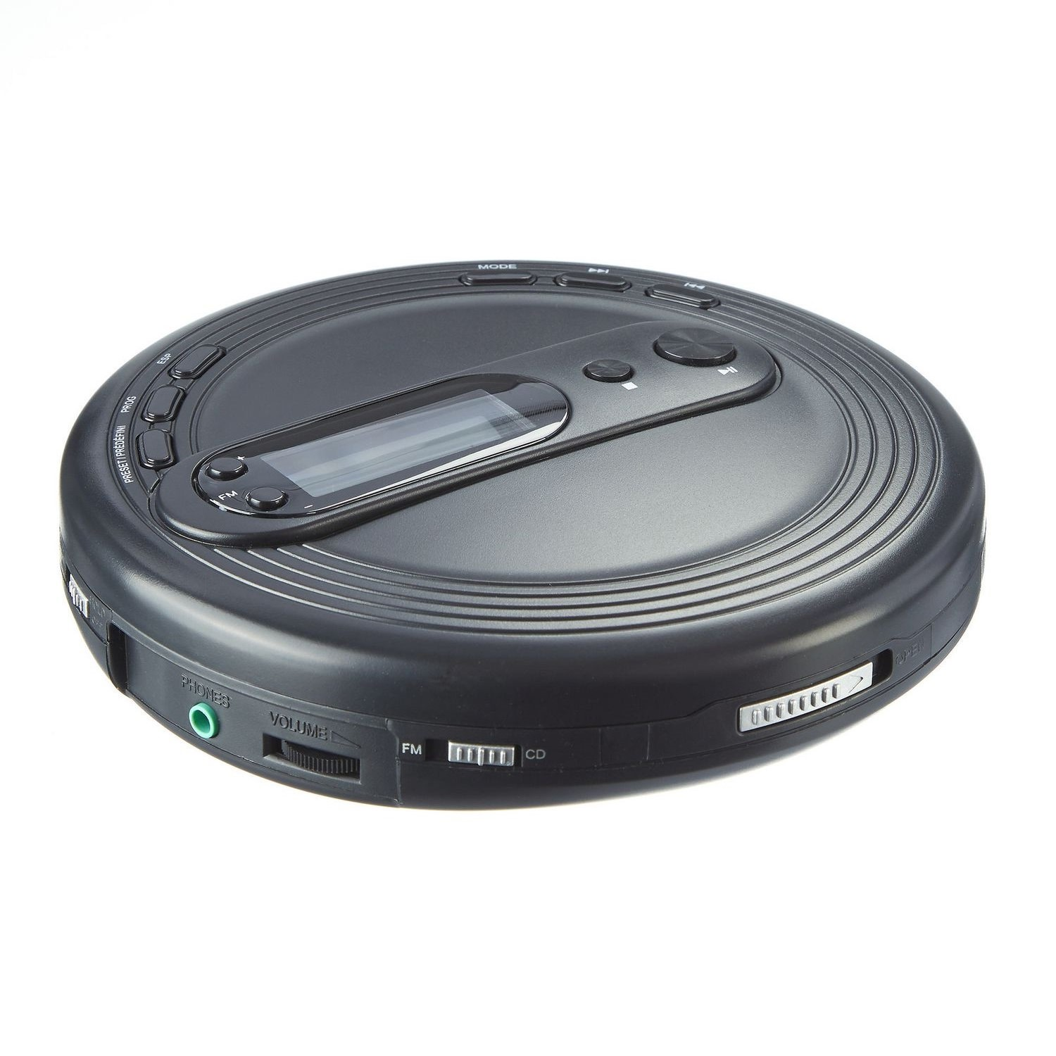 ONN Portable CD Player with FM Radio and Anti-Skip Protection, Black (Non-Retail Packaging)