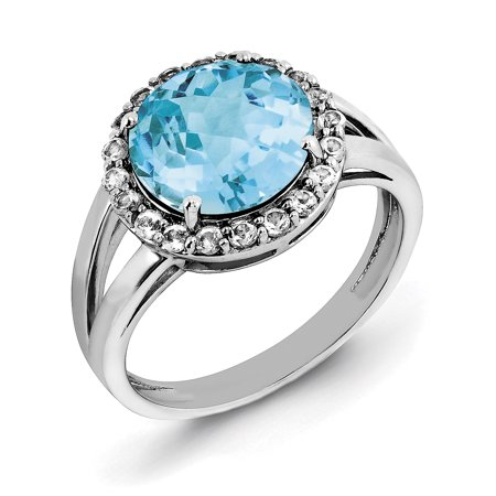 925 Sterling Silver Rhodium Blue and White Topaz Ring - image 2 of 2