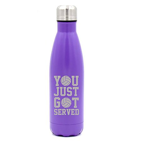17 oz. Double Wall Vacuum Insulated Stainless Steel Water Bottle Travel Mug Cup You Just Got Served Volleyball (Purple)
