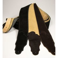 Franklin Strap - 2.5'' Original Suede With Suede Backing - Guitar Strap - Chocolate with Gold Stitching