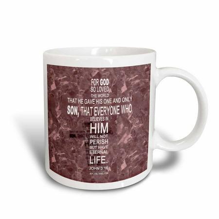 3dRose John 3 16 bible verse in the form of a cross reflected on red granite print, Ceramic Mug, 11-ounce - Ceramic Cross