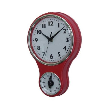 Lily\'s Home Retro Kitchen Timer Wall Clock, Bell Shape Red