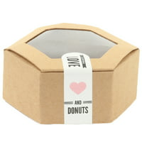 Koyal Wholesale Hexagon Donut Kraft Favor Boxes with Donut Sticker Labels, Bulk 50-Pack Count Donut Wedding Favors