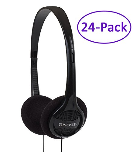 24_Pack Black Portable Stereo Headphones with 4Ft. Cable KPH7_24 by Koss by Koss