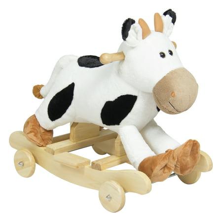 Best Choice Products Kids Ride On Plush Cow Animal Rocker W  Wheels Children Toy Rocking Chair   White Black