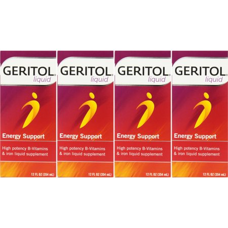4 Pack Geritol liquid High Potency Vitamin & Iron Supplement 12oz Each