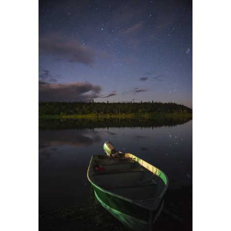 Carl Johnson   Design Pics Stretched Canvas Art   A Skiff Rests On The Banks Of The Kvichak River At Night  Bristol Bay Region  Southwest Alaska    Large 24 X 38 Inch Wall Art Decor Size