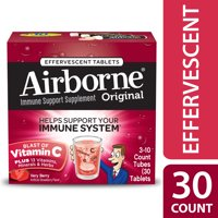 (2 pack) Airborne Vitamin C Tablets, Very Berry, 1000mg - 30 Effervescent Tablets
