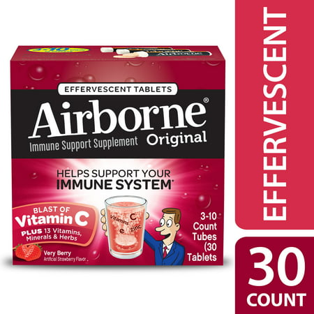 Airborne Vitamin C Tablets, Very Berry, 1000mg - 30 Effervescent (Airbourne The Very Best)