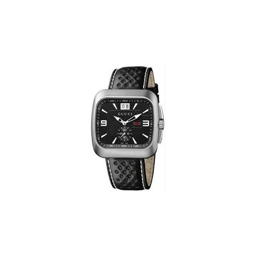 Gucci YA131302 Mens Stainless Steel G-Coupe Quartz Black Dial Leather Strap Watch