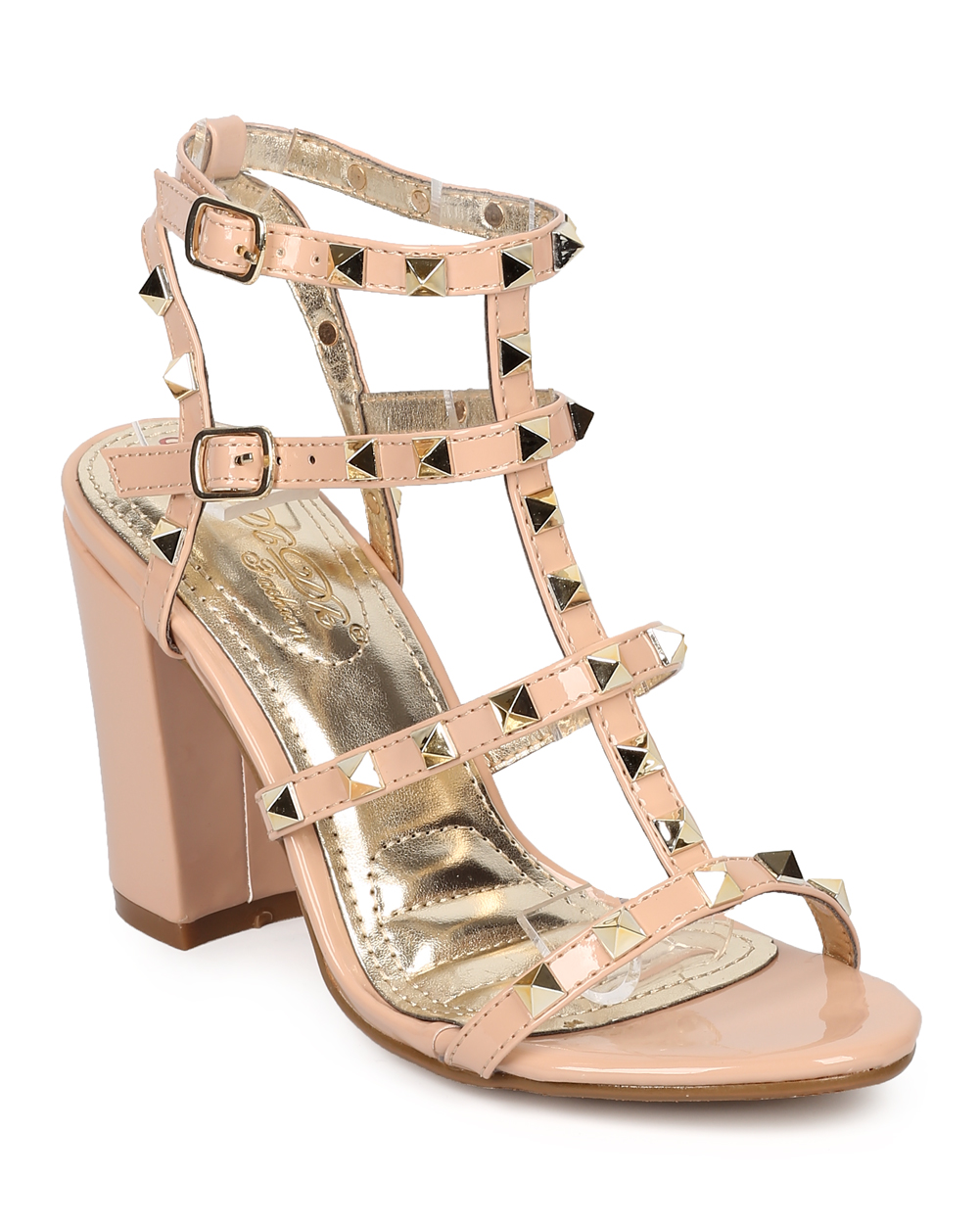 a448185f2e Women Patent Leatherette Open Toe Strappy Studded Block Heel Sandal HB24