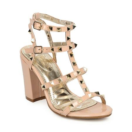 4ba411201c Women Patent Leatherette Open Toe Strappy Studded Block Heel Sandal HB24