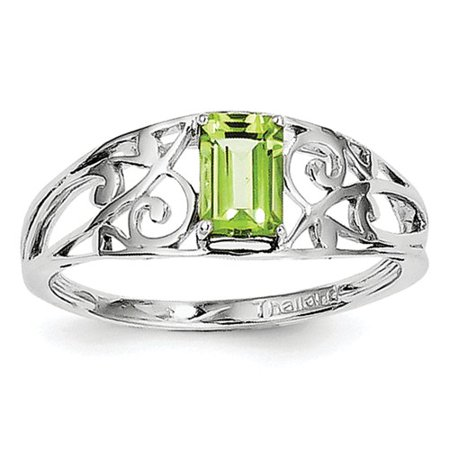 Sterling Silver Rhodium Plated Peridot Ring. Gem Wt- 0.56ct