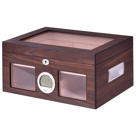 Costway 50-100 Cigar Humidor Storage Box Desktop Glasstop Humidifier Hygrometer
