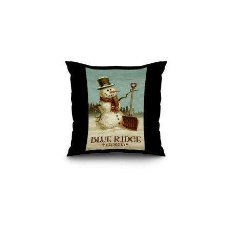 Blue Ridge  Georgia   Snowman   Christmas Oil Painting   Lantern Press Artwork  16X16 Spun Polyester Pillow  Black Border