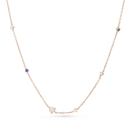 Lab Created Opal and Multicolored Cubic Zirconia Necklace in Rose Gold Plated Sterling Silver
