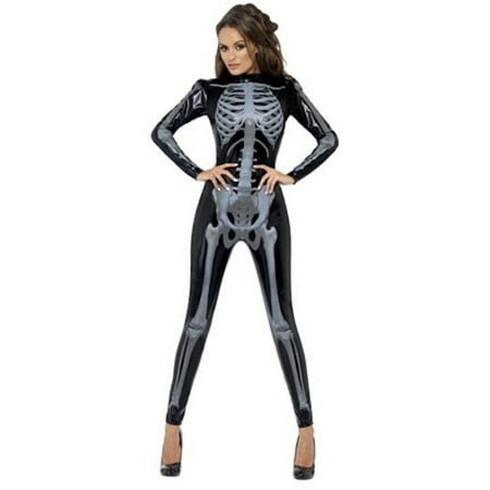 Fever Skeleton Catsuit 43838 by Smiffys Black - Black Catsuit