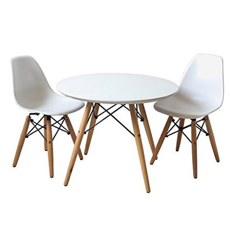 Buschman Set Of White Eames Style Kids Dining Room Mid Century Wooden Legs Table And Two