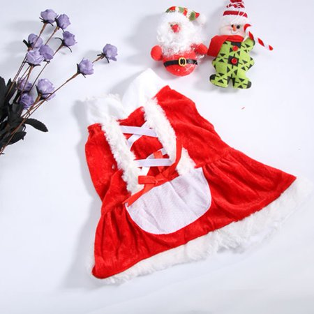 Pet Dogs Cute Winter Warm Christmas Dress Clothes Pet Red Ribbon bow Dress