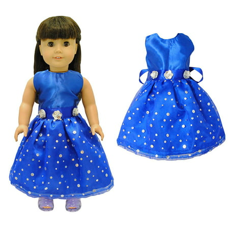 Doll Clothes - Beautiful Blue Dress Outfit Fits American Girl Doll, My Life Doll, Our Generation and other 18 inch