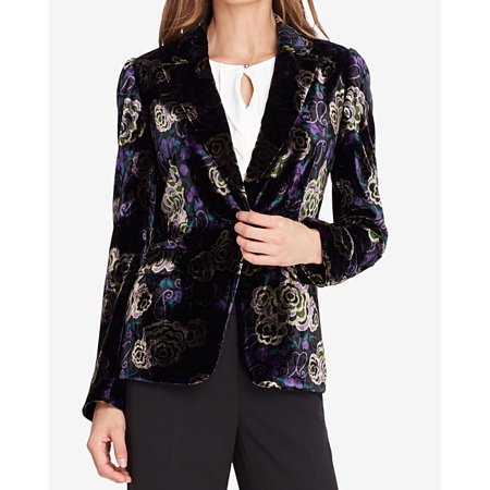 Tahari Women Suits (Tahari ASL Womens Floral Print Velvet One Button Blazer )