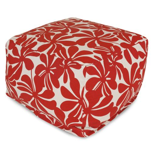 Majestic Home Goods Plantation Ottoman Outdoor Indoor Red Plantation Large Ottoman