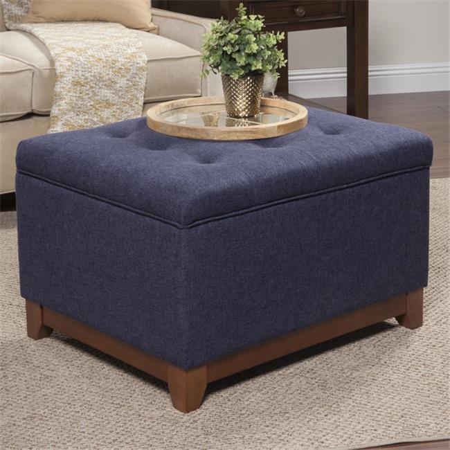 Kinfine USA K6813-F1570 Chunky Textured Storage Ottoman - Blue