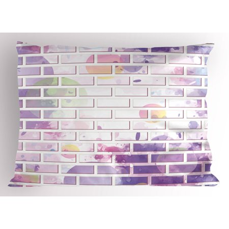 Wall Pillow Sham Vector Illustration of Graffiti Brick Wall Pattern Design Street Artwork, Decorative Standard Size Printed Pillowcase, 26 X 20 Inches, Violet and Lavander, by