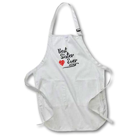 3dRose Typography Design- Best Sister Ever - Full Length Apron, 24 by 30-inch, White, With Pockets